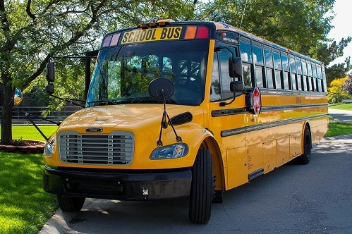 This ServiCar school bus can hold 75 elementary students with an adult chaperone. School Buses like this are used for regular route transportation, sporting events, field trips and special events.